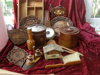Job Lot Collectable Treen Wooden Items Barometer Music Box Plaques Crumb Scoop