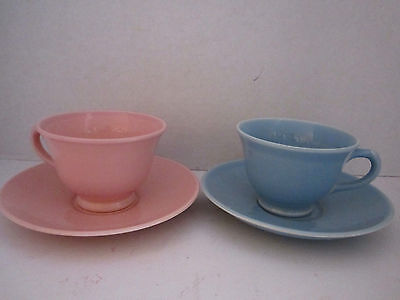 2 LuRay Pastels Sharon Pink Windsor Blue & Footed Cup & Saucer TS&T