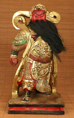 Very Big Rare Chinese Old Wood Hand Carved Hero justice Guanyu Statue Figure