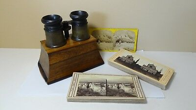 Antique Wood Brewster Type Stereoscope Stereo Viewer Adjustable Focus + 40 Views