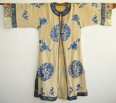 Vtg Chinese Imperial Embroidered White Silk Dragon Court Robe