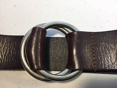 Abercrombie Fitch Brown Leather Belt Mens Double Ring Buckle Silver Tone