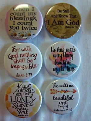 """1.5"""" Christian Set #20~ 6-pk Novelty Buttons/Pins: For backpacks, Jackets & More"""