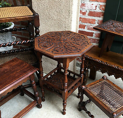 Antique English Carved Tiger Oak Side Lamp Table 2 Tier Victorian Octagon Wine