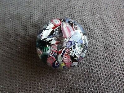 Antique 19th century Latticino Ribbon cane Paperweight polished concave base