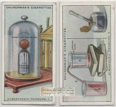 Atmospheric Pressure  Demonstration Science Experiment  2 1920s Trade Ad Card