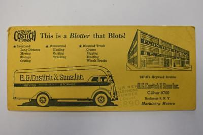 Vintage B.G. Costich & Sons Machinery Movers Advertising Ink Blotter New York