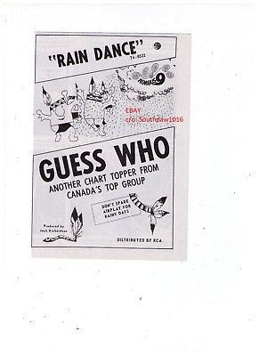 """1971 The Guess Who """"Rain Dance"""" Vintage Song Release Print Ad"""
