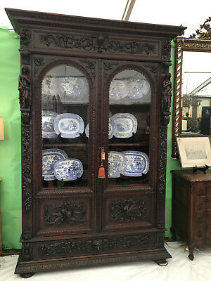 Antique French Carved Oak Renaissance Bookcase Cabinet Glass Display Theater
