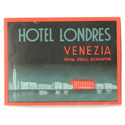 1958 HOTEL LONDRES VENEZIA Venice Italy Luggage Label Decal Sticker MINT