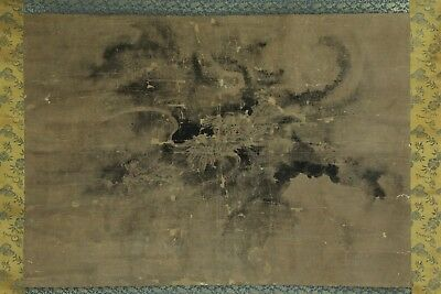 """Japanese Edo Hanging Scroll""""dragon In The Cloud""""hand Painted By 藤原為信 Mar049"""