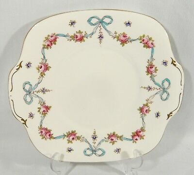 Crown Staffordshire BLUE BOW & PINK ROSES A8243 CAKE PLATE same as pattern F4597