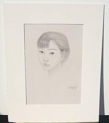 Origninal Dongmin Lai SIGNED Chinese artist  Pencil Drawing Sketch YOUNG WOMAN