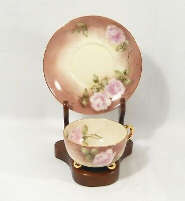 ANTIQUE T&V Limoges TEACUP Artist Signed  Hand Painted ROSES  Ball Feet c. 1910