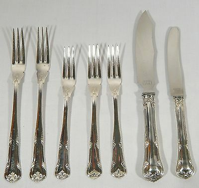 7 pc DANISH HERREGAARD Old MANOR HOUSE 4 FORKS  2 KNIVES 1 Cocktail Pickle Lemon