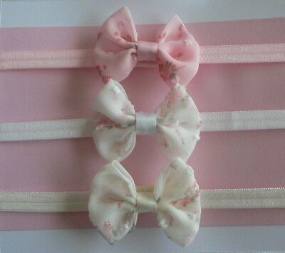 "Set Of 3 Newborn/Baby/Toddler/Girl Headbands With 2"" Chiffon Floral Bows!!"