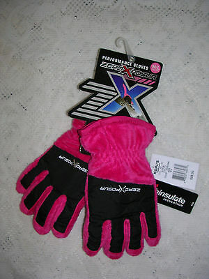 Zeroxposur Youth Performance Girl's Pink/black Fleece Gloves Size M/l   Nwt