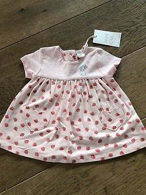 Bnwt Newborn Baby Girls Dress Pink Bunny Strawberries Mini Club