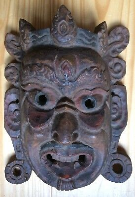 Antique Vintage Asian Chinese Hand Carved Wood Wooden Mask with Wax Export Stamp