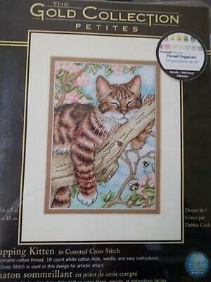 "Cross stitch Kit Gold Collection  "" Napping Kitten "" New by Dimensions"