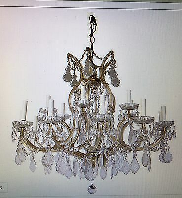 "Magnificent Maria Teresa Vintage Large 18 Arm Crystal Chandelier 34""D x 31""T"
