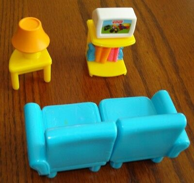 fisher price my first dollhouse 2 piece blue living room sofa couch