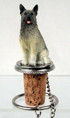 Norwegian Elkhound Dog Hand Painted Resin Figurine Wine Bottle Stopper