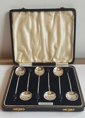 A Stylish Cased Set of 6 Solid Silver Coffee Spoons Birmingham  1937 VGC