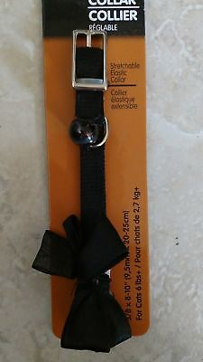 Petmate Satin Bow Adjustable Breakaway Cat Collar ~ Black