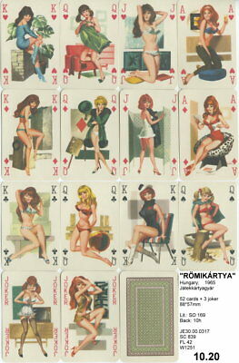 Spielkarten playing cards Pin-Up adult Nude Erotic Sexy erotik Ungarn1965 E10.20
