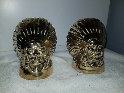 Antique Vintage Heavy Brass Native Indian Chief Heads Pair Ornaments Rare