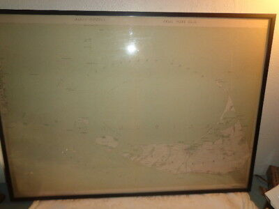 1891 Nantucket Massachusetts Wall Map Geo. Walker Churches Schools Cemeteries RR