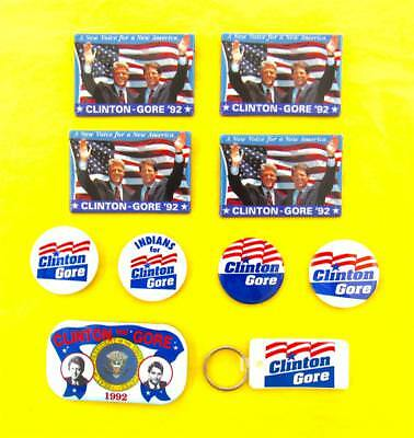 Bill Clinton -- 1992 Campaign Buttons Pins Keychain (10) -- Al Gore -- Mint