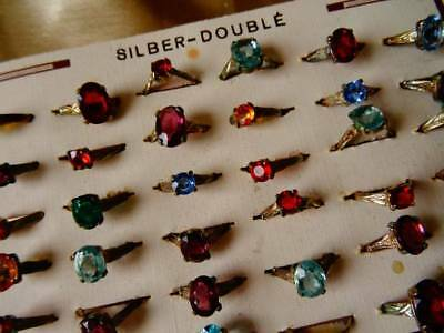 An Exquisite Original French Card 36 Glass Stone Child's Rings