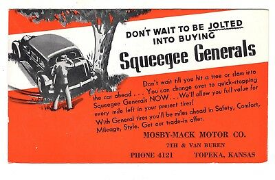 1939 Ink Blotter / Post Card Advertising Squeegee General Tires Picture Car