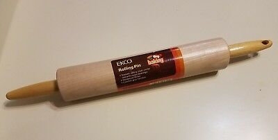 Vintage Ekco Baking Wooden Rolling Pin New Old Stock Nos Made In Usa Kitchen