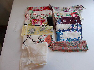 Vintage Estate Lot #2 Floral Cutter Hankies Hankerchiefs Craft Lot Holiday