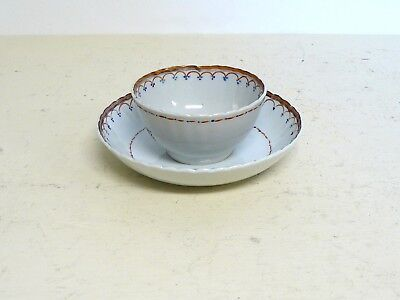 Antique Lowestoft Chinese Export Cup And Saucer Rose Decoration