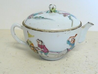 Antique Chinese Polychrome Teapot Signed With Imperial Seal