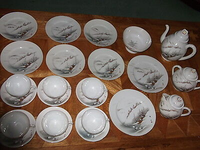 Stunning Antique Japanese Egg Shell China Tea Set For Six