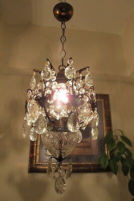 Antique Vnt. Small French Cage Style Crystal Chandelier Light Lamp 1940's 10 in
