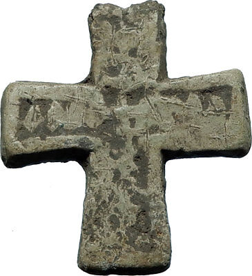 Ancient Christian Byzantine Medieval Lead CROSS Artifact circa 900-1100AD i66423