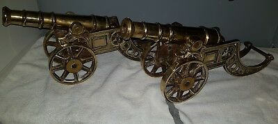 Pair of Large Vintage Solid Cast Brass Desk Cannons Heavy Artillery Rare Antique