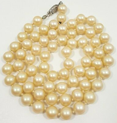 Stunning Vintage Estate Necklace Silver Tone Glass Faux Pearl Beads Classy#4929