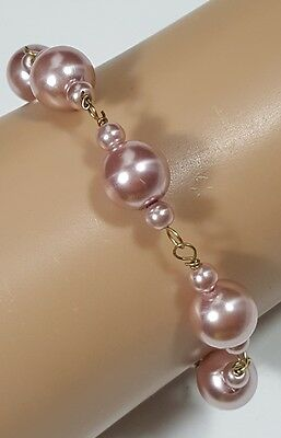 Stunning Vintage Estate Bracelet Gold Tone Light Rose Faux Pearls Classy  #4849