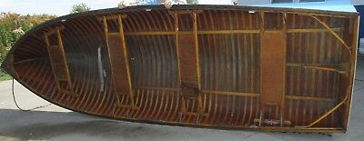 Great 1950's PENN YAN WOOD OUTBOARD BOATING ROW BOAT WITH TRAILER 14 FT