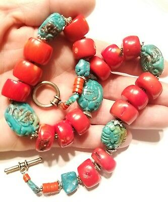 Vtg Red coral green turquoise carved shou beaded necklace Chinese estate jewelry