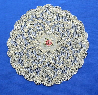 Antique Schiffli Lace Embroidered  Doily Coaster
