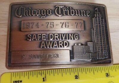 1974/75/76/77 Chicago Tribune Safe Driving Award Belt Buckle