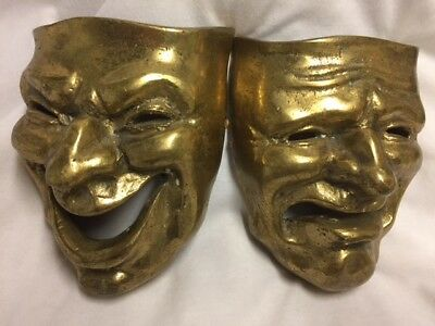 Vintage Brass Theatre Drama Comedy Tragedy Happy Sad Face Masks Wall Hangings
